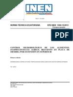 INEN 1529-14-2014 Staphylococcus Aureus, Recuento en Placa