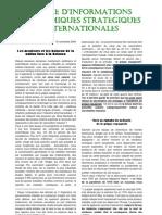 LETTRE D'INFORMATIONS ÉCONOMIQUES STRATÉGIQUES INTERNATIONALES