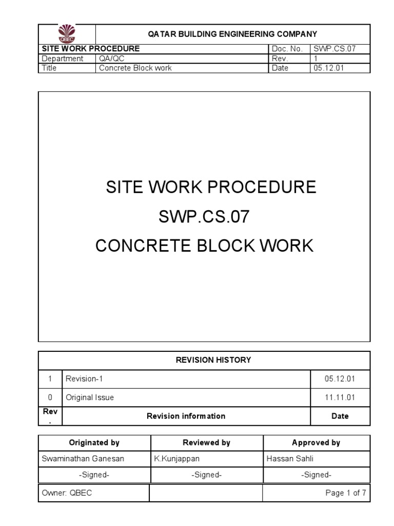 Block WorkMethod Statement Mortar Masonry – Method of Statement Sample