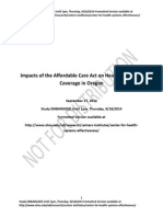 Impacts of the Affordable Care Act on Health Insurance Coverage in Oregon