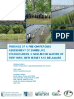 FINDINGS OF A PRE-CONFERENCE ASSESSMENT OF SHORELINE STAKEHOLDERS IN SHELTERED WATERS OF NEW YORK, NEW JERSEY AND DELAWARE