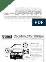 Eumig Projector Mark S 810 810D 810D LUX User Manual