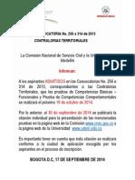 Aviso Citacion Pruebas Contralorias 19 de Octubre