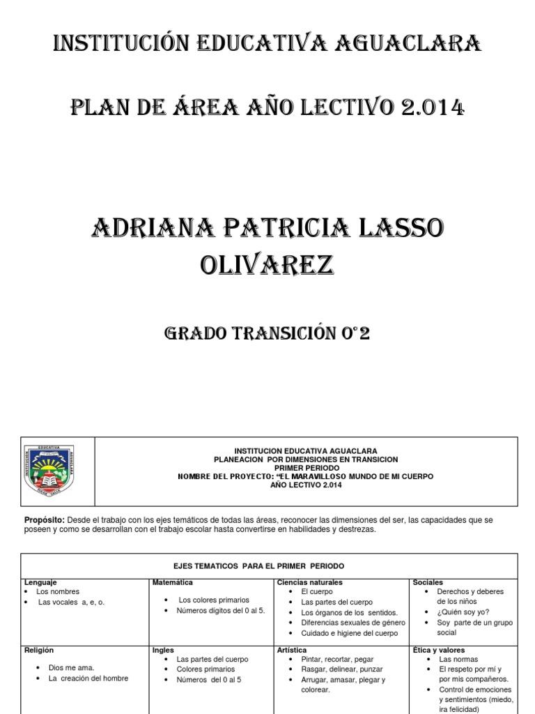 Plan De Area Grado Tansición