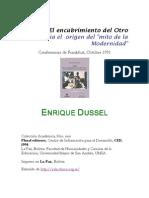 Dussel Enrique 1492 El Encubrimiento Del Otro Hacia El Origen Del Mito de La Modernidad Libre