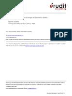 DEVISME, Laurent. Ressorts Et Ressources d'Une Sociologie de l'Expérience Urbaine