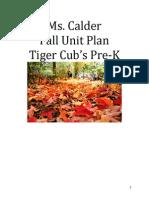 Fall Unit Plan Tiger Cub Prek