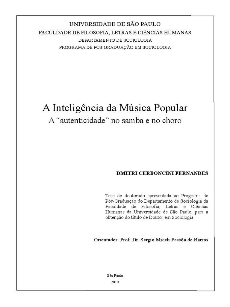 A Inteligência Da Música Popular Dmitri Fernandes e3e1cc43022a4