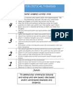 guidelines for critical thinking rubric