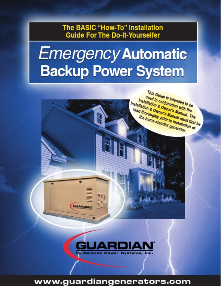 Generac Guardian Generator Installation Manual Switch Battery Wiring Instructions Electricity