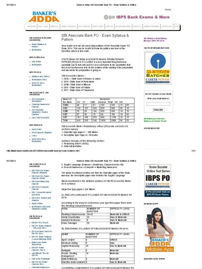 Bankers Adda Sbi Associate Bank Po Exam Syllabus Pattern