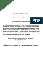 Excluidos en La Lista de Espera Extraordinaria de Profesores Técnicos de Formación Profesional 2014-2015