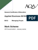 GCE App'd B Studs BS12 Mark Schemes Jan 10