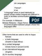 Sociolinguistics 3 - Pidgin & Creole, Diglossia, Jargon