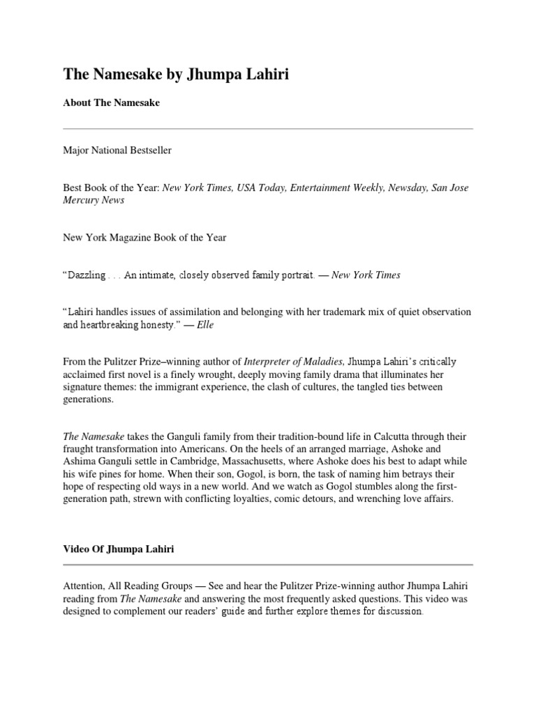 The namesake by jhumpa lahiri supplemental study materials by a.