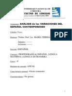 Analisis de Las Variaciones Del Espanol ContemporaneoFAC