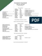 Academic Calendar 2014-2015 Revised December 2013