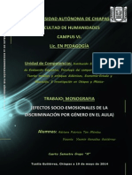 (Efectos Socio-emosionales de La Discriminación Por Género en El Aula)