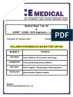 Syllabus for Medical Major Test - 02 (2016 Aspirants) for 11th Studying