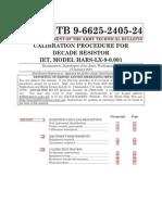 Calibration Procedure for Decade Resistor Iet, Model Hars-lx-9-0.001 - Tb-9-6625-2405-24