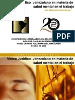 LAPS 2009 Marco Juridico Venezolano en Materia de Salud Mental en El Trabajo Mila Barboza