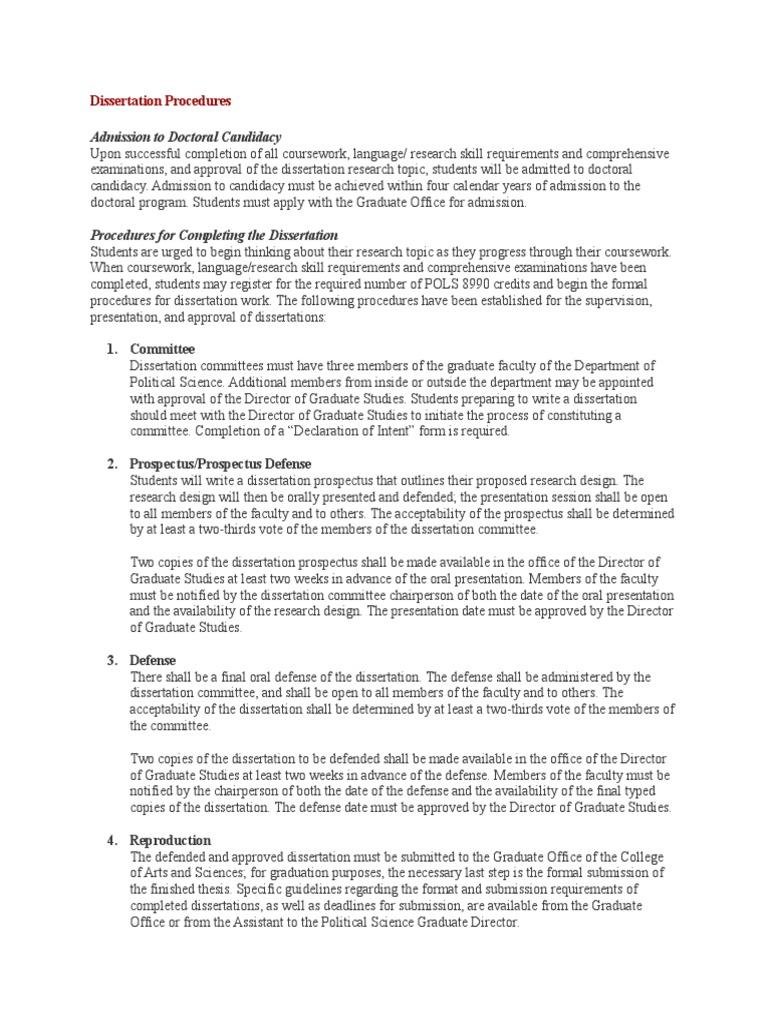 dissertation chairperson