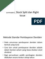Dividen, Stock Split Dan Right Issue