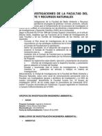 Unidad de Investigaciones de La Facultad Del Medio Ambiente y Recursos Naturales
