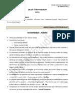 Unit 1 Notes for Entrepreneurship for ITMU