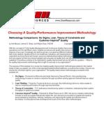Six Sigma vs Lean vs TOC vs Customer Inspired Quality