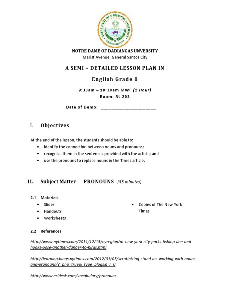 Semi dETAILED LESSON PLAN IN eNGLISH Grammatical Gender – Intensive Pronouns Worksheet