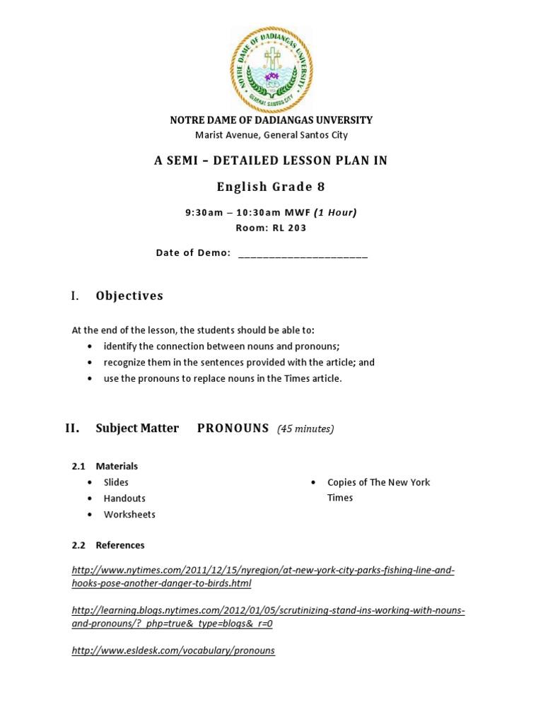 Workbooks types of sentences worksheets grade 6 : Semi dETAILED LESSON PLAN IN eNGLISH | Grammatical Gender | Semiotics