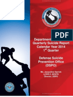 DoD Quarterly Suicide Report CY2014 Q1
