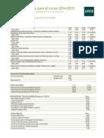 Precios Publicos  UNED 2014 2015
