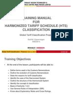 Training Manual for Harmonized Tariff Schedule (Hts) Classification