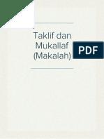Makalah Taklif Dan Mukallaf