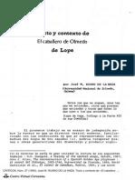 Texto y Contexto, El Caballero de Olmedo, Lope de Vega