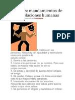 Los Diez Mandamientos de Las Relaciones Humanas