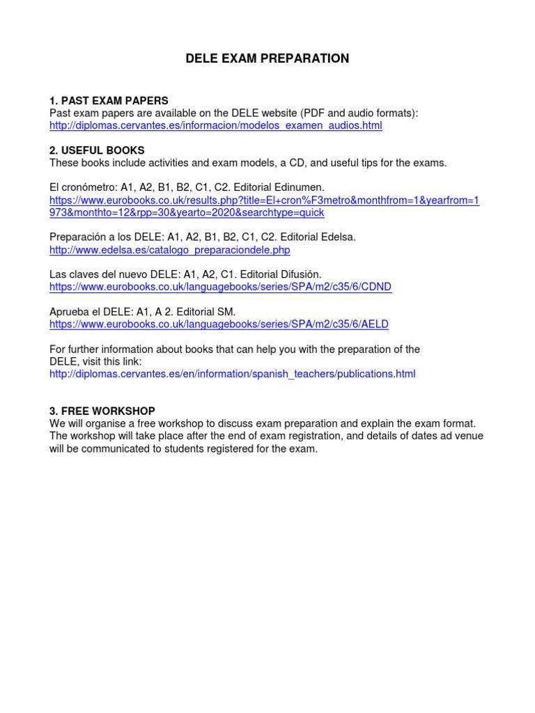 Dele Exam Preparation Second Language Acquisition Humanities Education