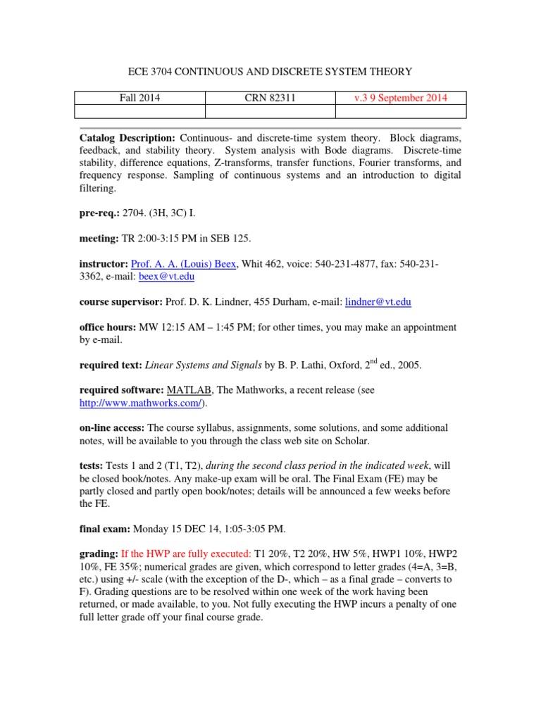 ECE3704F14syllabus+v3 | Signal (Electrical Engineering) | Signal Processing