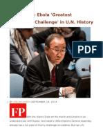 WHO Head Ebola 'Greatest Peacetime Challenge' in U.N. History