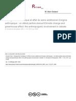 Changement Climatique Et Effet de Serre Additionnel d'Origine Anthropique