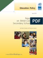 Fraser Institute Report Card on British Columbia's Secondary Schools 2014