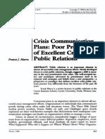 Marra Crisis Communication Plans Poor Predictors of Excellent Crisis PR