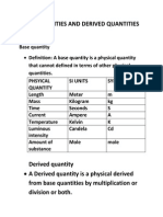 Base Quantities and Derived Quantities