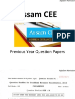 Assam CEE 2014 Question Paper - Chemistry