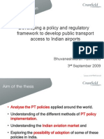 Thesis Presentation -Developing a policy and regulatory framework to develop public transport policy at indian airports