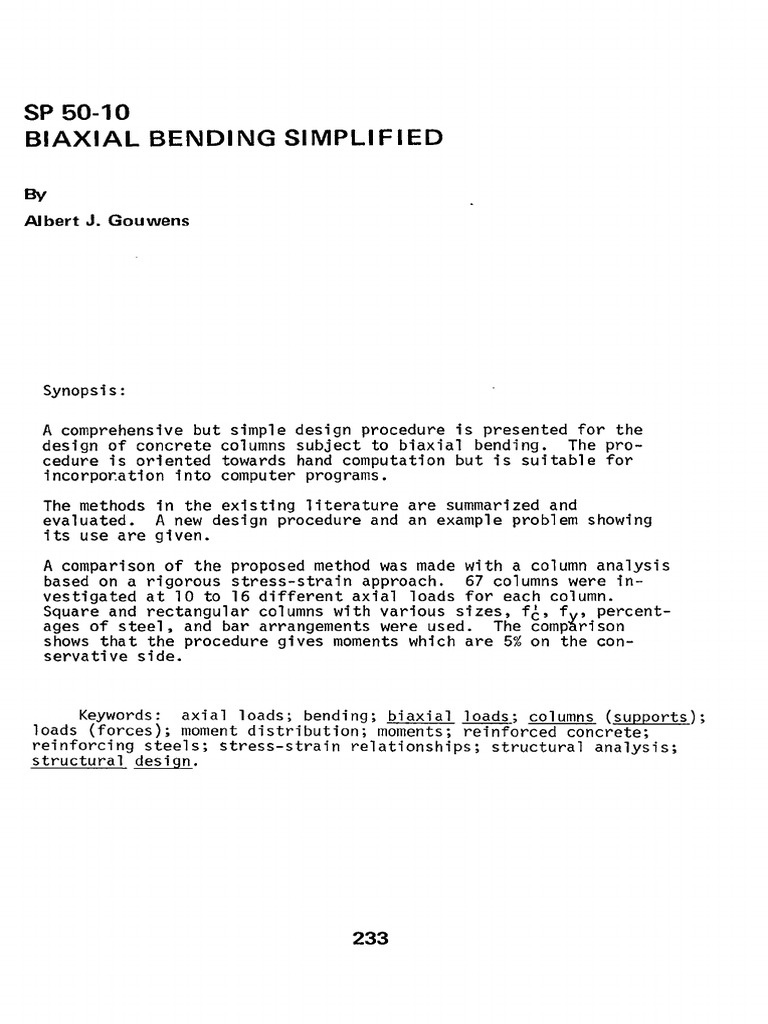 Gouwens, Biaxial Bending Simplified   Bending   Column