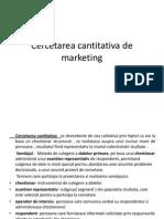Cercetarea Cantitativa de Marketing