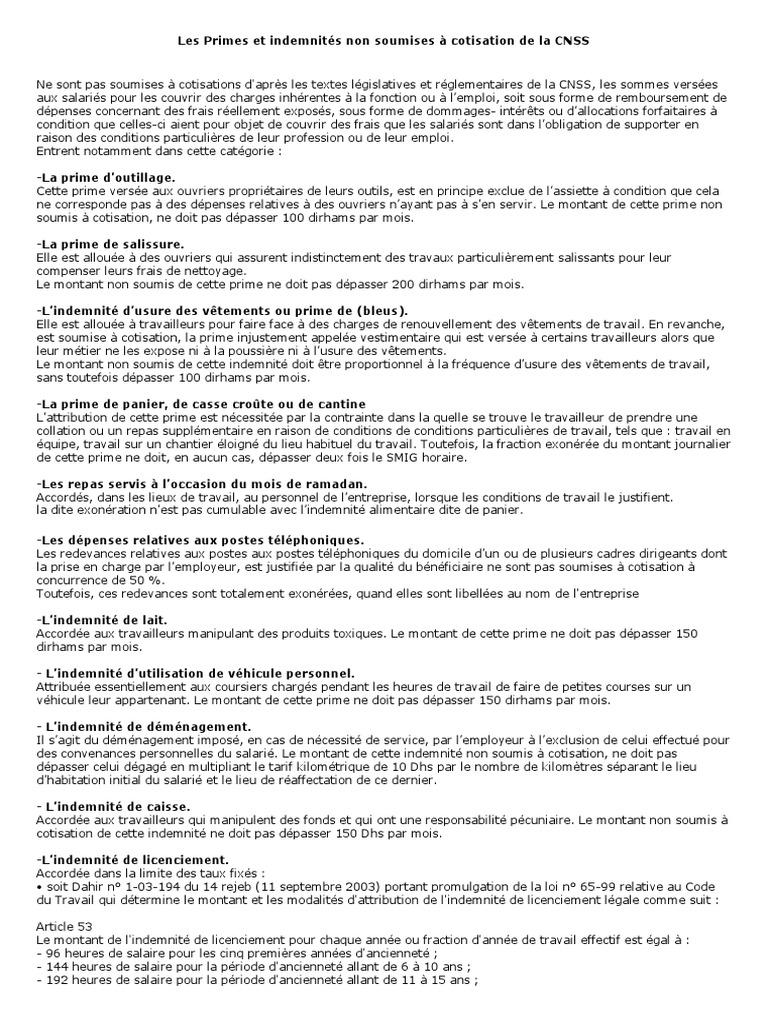 Les Primes Et Indemnita C S Non Soumises A Cotisation De La Cnss 1